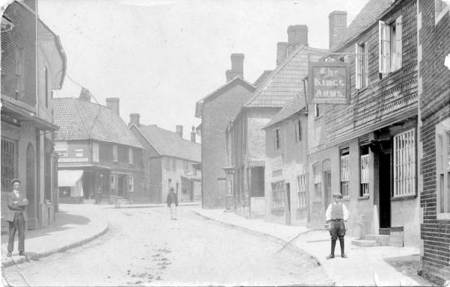High Street, Market Lavington as sent on a postcard to Canada in 1915