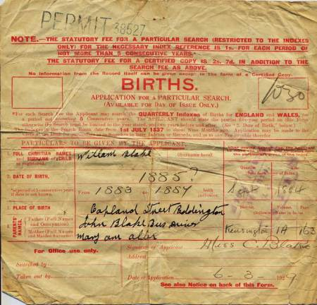 Request for a birth certificate for William Blake