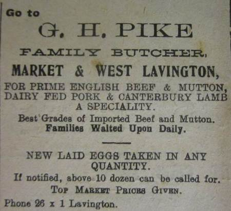 Advert for George Pike the butcher from September 1924