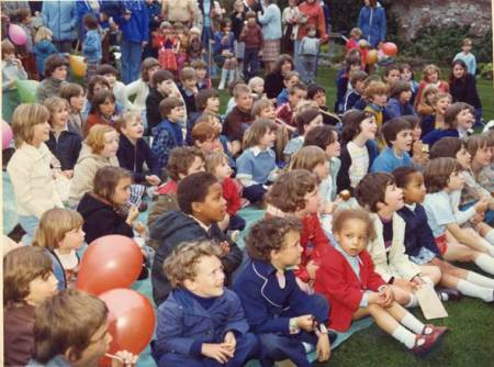 Happy children iat a Market Lavington Church Fete in 1976
