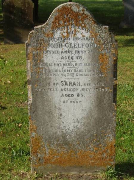 Grave of John and Sarah Clelford at Drove Lane Cemetery