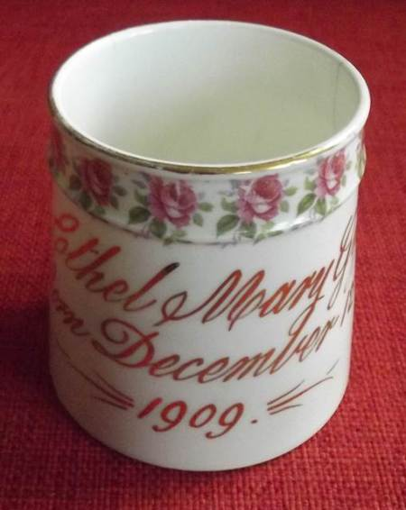 1901 birthday mug for Ethel Mary Gye
