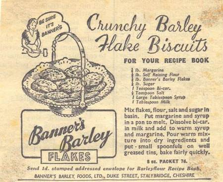 Bessie Francis's recipe for barley flake biscuits
