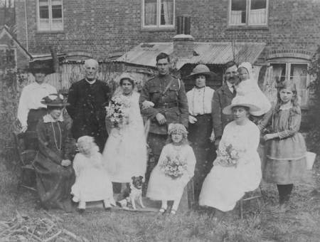 Group at the Easterton wedding of Mary Redstone and Edward Bliss Taylor in 1919