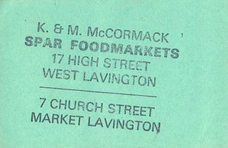 This ticket has been stamped by the Mcormacks at the Spar shop on Church Street