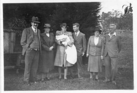 Photo taken after Tim Gye's christening in 1943